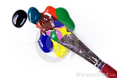 Paintdrops of different colours and paintbrush