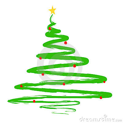 Painted Christmas Tree Illustration Royalty Free Stock Photography ...