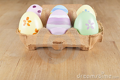Painted Easter Eggs in Carton