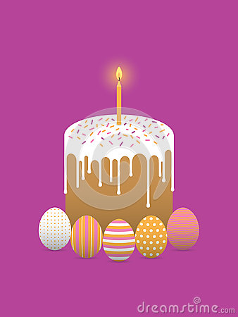 Painted easter eggs with easter cake Vector Illustration