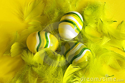 Painted easter eggs feathers