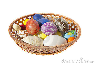 Painted Easter eggs wicker dish table decoration