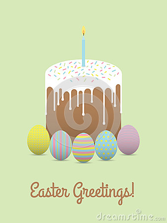 Painted eggs with easter cake. Easter greetings Vector Illustration