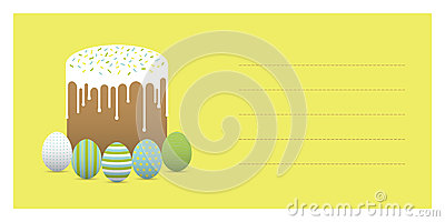 Painted eggs with easter cake. Greeting card Vector Illustration