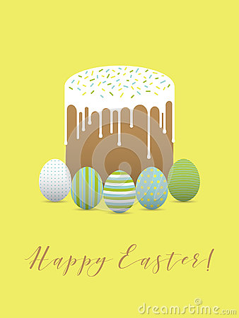 Painted eggs with easter cake. Hapy easter Vector Illustration