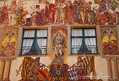 Painted facade of Medieval building in Konstanz