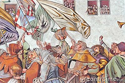 Painted facade of Medieval building in Konstanz