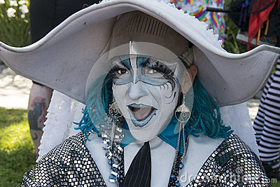 Painted Face for Parade Editorial Stock Photo
