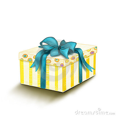 Painted Gift box with blue bow isolated on white