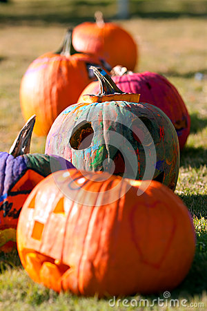 Painted Halloween Pumpkins Dry In The Sun