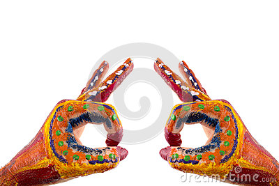 Painted hands. Creative, funny and artistic means happy! Isolate Stock Photo