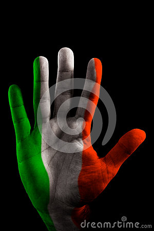 PAINTED HANDs FLAG s - Italy Green, White and Red