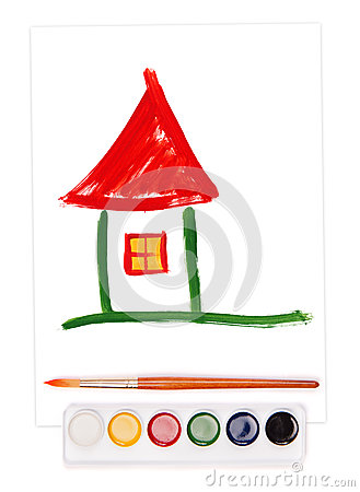 Painted home, watercolor set and brush