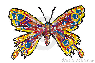 Painted isolated butterfly