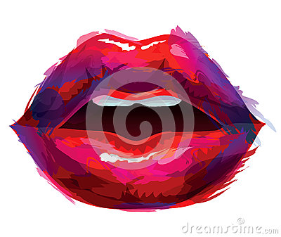 Painted lips Vector Illustration