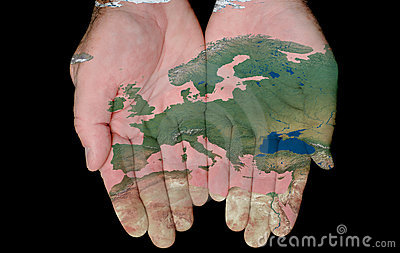 Painted Map Of Europe In Our Hands