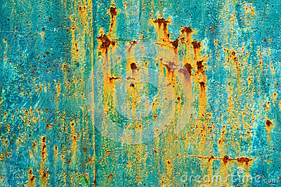 Painted metal surface with rust streaks