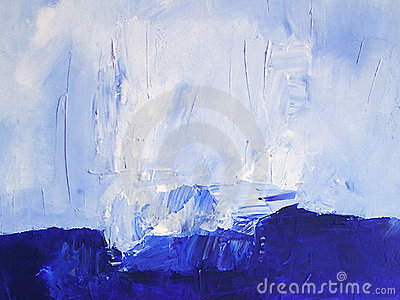 Painted Ocean Scene / Abstract Texture in Blue