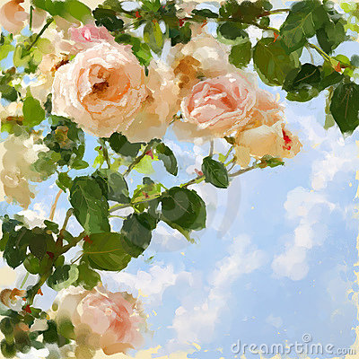 Painted picture with rose-tree and blue sky.