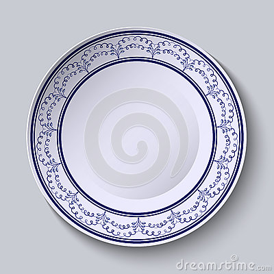 Free Painted Plates With A Blue Ornament In Ethnic Style With An Empty Space In The Center. Royalty Free Stock Photos - 64856398