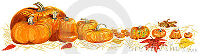 Painted pumpkin border
