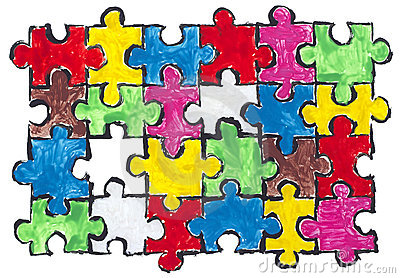 Painted puzzles  abstract concept
