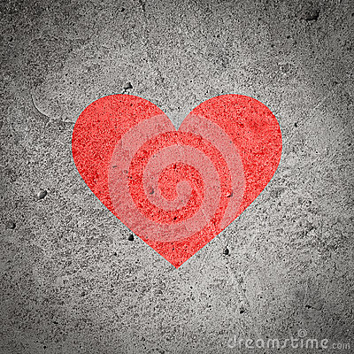 Free Painted Red Heart On Dark Grey Concrete Wall, Textured Background Stock Photos - 33296933