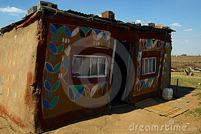 Painted rural home in South Africa