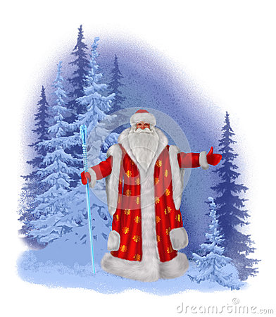 Painted Santa Claus on a background of a winter forest