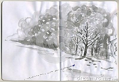 Painted Sketchbook - snow