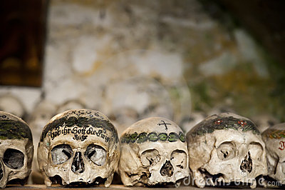 Painted Skulls in a Bone House