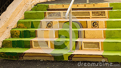 Painted stairs - Arch of Triumph Editorial Stock Photo