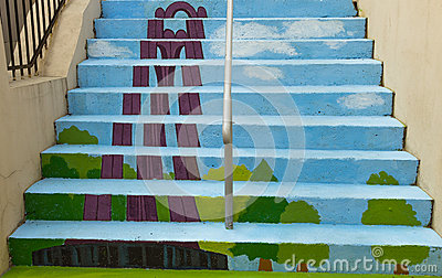 Painted stairs - Mausoleum Editorial Image
