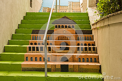 Painted stairs - Museum of the Romanian Peasant Editorial Photography