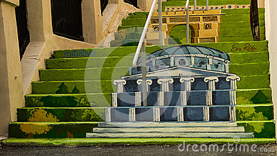 Painted stairs - Romanian Athenaeum Editorial Stock Photo