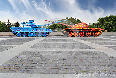 Painted tanks in Kiev
