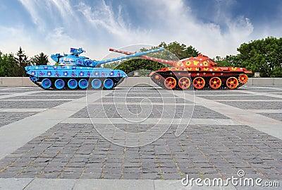Painted tanks in Kiev