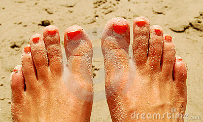 Painted Toes at Beach