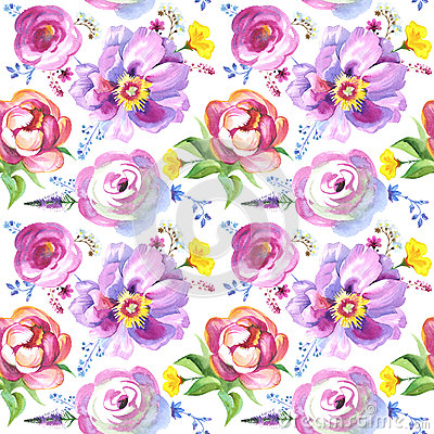 Free Painted Wildflower Flowers Background Pattern In A Watercolor Style. Stock Image - 77140411