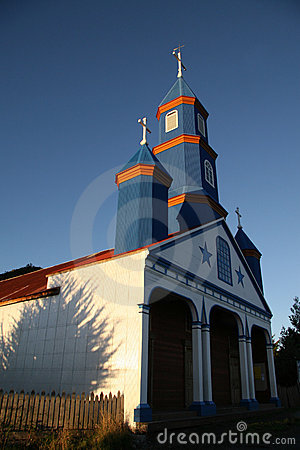 Painted wooden church in Chiloe
