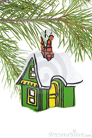Painted Wooden House Ornament