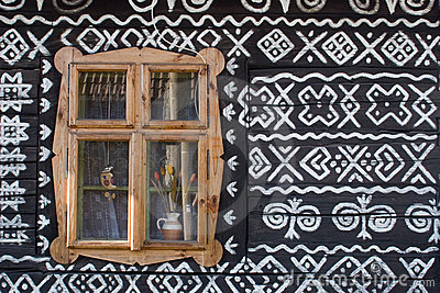Painted wooden house in Slovakia