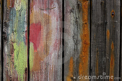 Painted wooden planks
