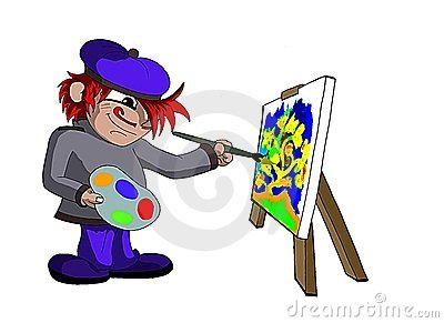 isolated Painter working on his picture