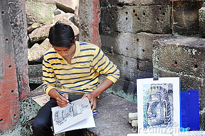 Painter at Angkor,Cambodia Editorial Image