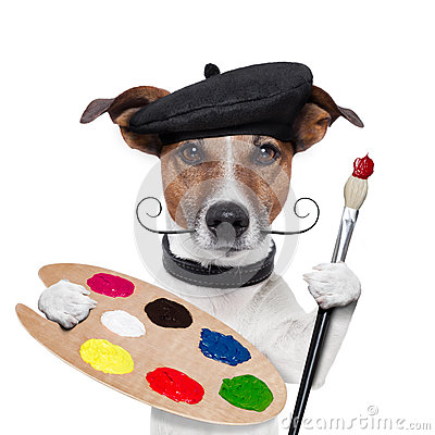 Free Painter Artist Dog Royalty Free Stock Photography - 26417537