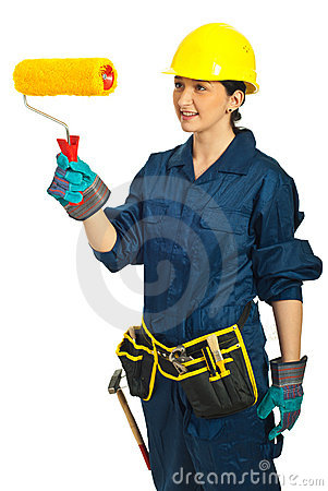 Painter female holding paint roller
