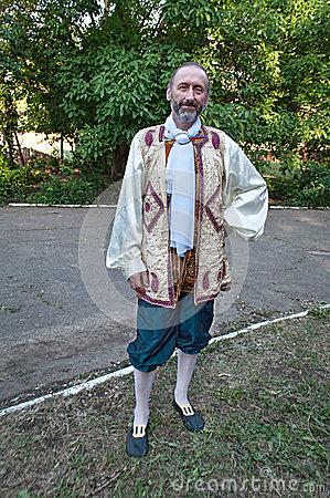 Painter in folk suits