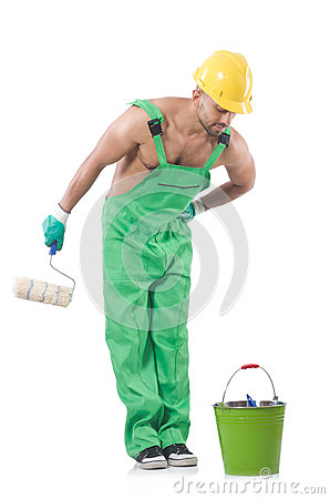 Painter in green coveralls