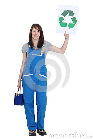 Painter holding recycling logo